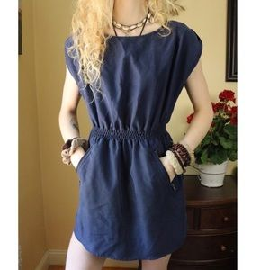 DIVIDED Navy Blue Zipper Back & Pocket Mini Dress